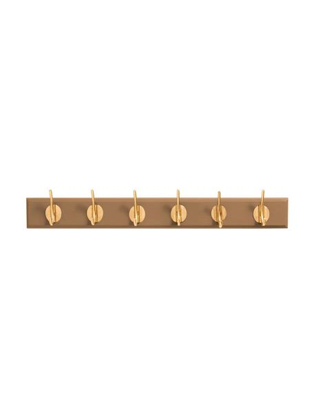 Garderobenhaken Aoife mit Metall-Haken, Leiste: Mitteldichte Holzfaserpla, Haken: Messing, Kamelbraun, 60 x 7 cm