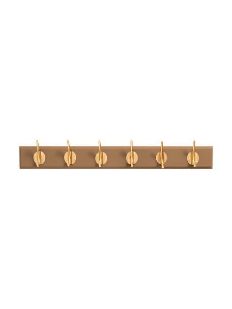 Wieszak ścienny z hakami z metalu Aoife, Kamelowy brązowy, S 60 x W 7 cm