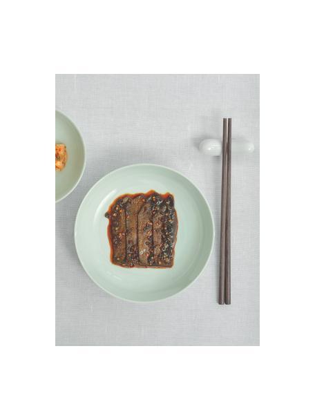 Porzellan-Frühstücksteller Kolibri in Mintgrün glänzend, 6 Stück, Porzellan, Mintgrün, Ø 21 cm