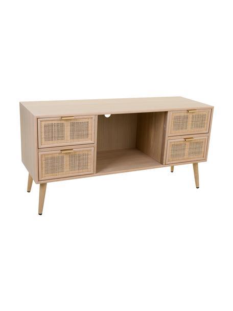 Tv-meubel Cayetana van hout, Frame: MDF, fineer, Handvatten: metaal, Poten: bamboehout, gelakt, Bruin, 120 x 60 cm