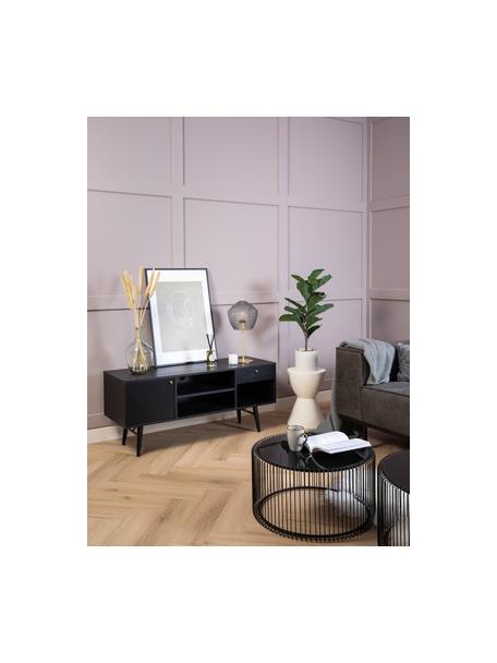 Lámpara de mesa de vidrio Orbiform, Pantalla: vidrio, Dorado, gris, transparente, Ø 23 x Al 47 cm