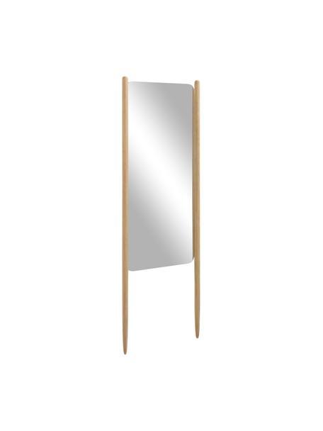 Eckiger Anlehnspiegel Natane mit hellem Holzrahmen, Rahmen: Birkenholz, Rückseite: Mitteldichte Holzfaserpla, Spiegelfläche: Spiegelglas, Hellbraun, 54 x 160 cm