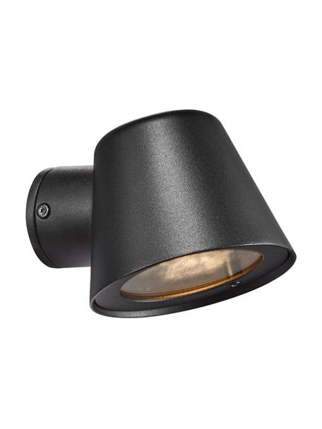 Outdoor wandlamp Aleria in zwart, Lampenkap: gecoat metaal, Zwart, 12 x 11 cm