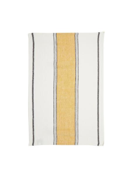 Leinen-Geschirrtuch Lecci mit gelbem Streifen, Leinen, Gelb, Weiß, Schwarz, 46 x 70 cm