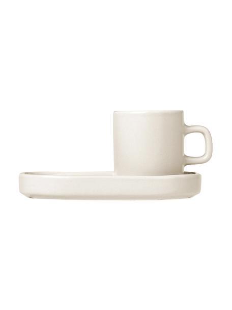 Espresso kopjes Pilar met schoteltjes in mat/glanzend beige, 2 stuks, Keramiek, Beige, Ø 5 x H 6 cm