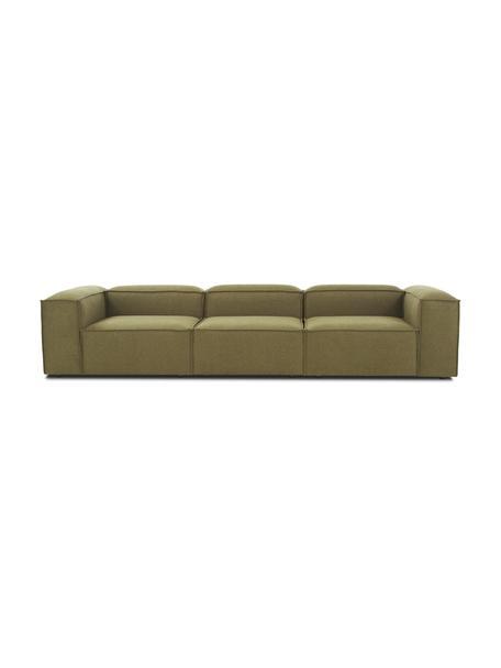 Modulaire bank Lennon (4-zits) in groen, Bekleding: 100% polyester, Frame: massief grenenhout, multi, Poten: kunststof, Geweven stof groen, B 326 x D 119 cm