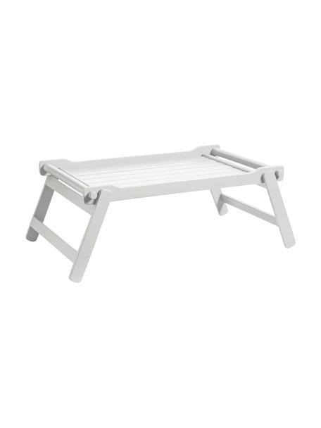 Składana taca do serwowania z drewna Bed, Drewno mahoniowe, lakier poliuretanowy, Biały, D 58 x S 36 cm