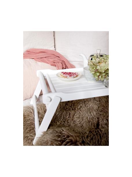 Vassoio pieghevole da portata in legno Bed, 58x36 cm, Legno di mogano, poliuretano verniciato, Bianco, Lung. 58 x Larg. 36 cm