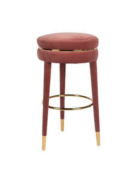Samt-Barhocker I Am Not A Macaron in Pink, Bezug: Polyestersamt 30.000 Sche, Gestell: Gummibaumholz mit Samtübe, Pink, Ø 41 x H 78 cm