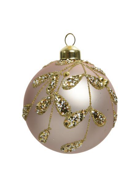 Weihnachtskugeln Stem Ø 8 cm, 3 Stück, Goldfarben, Beige, Ø 8 cm