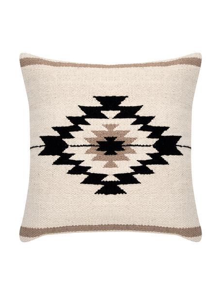 Funda de cojín Toluca, estilo étnico, 100%algodón, Negro, beige, gris pardo, An 45 x L 45 cm