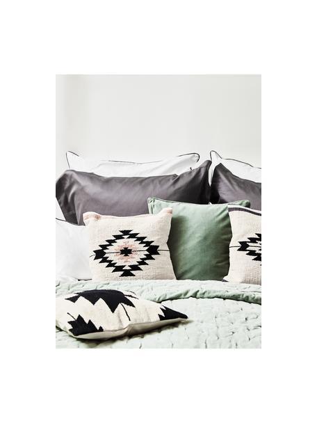 Geweven kussenhoes Toluca in ethno stijl, 100% katoen, Zwart, beige, taupe, 45 x 45 cm