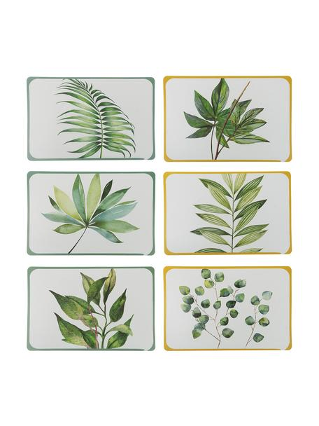 Kunststoffen placemats Botanique, 6-delig, Kunststof, Wit, groen, geel, B 45 x D 30 cm