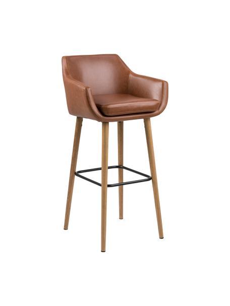 Krzesło barowe ze sztucznej skóry Nora, Tapicerka: sztuczna skóra (poliureta, Nogi: drewno dębowe, olejowane, Tapicerka: koniakowy Nogi: drewno dębowe Podnóżek: czarny, S 55 x W 101 cm