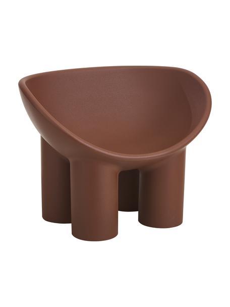 Design fauteuil Roly Poly in bruin, Polyethyleen, vervaardigd volgens het rotatiegietprocédé, Bruin, 84 x 57 cm