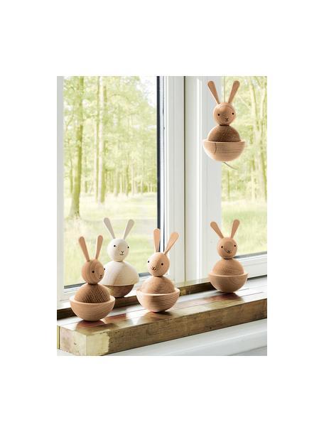 Decoratief object Rabbit, Ophanglus: leer, Houtkleurig, zwart, Ø 7 x H 13 cm