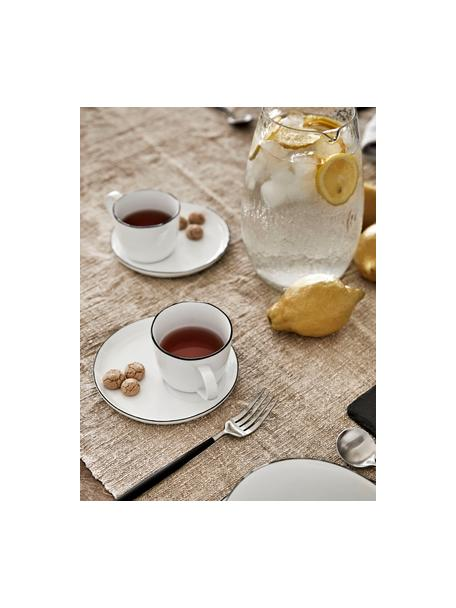 Handgemachte Espressotasse Salt mit Untertasse mit schwarzem Rand, Porzellan, Gebrochenes Weiß, Schwarz, Ø 6 x H 5 cm