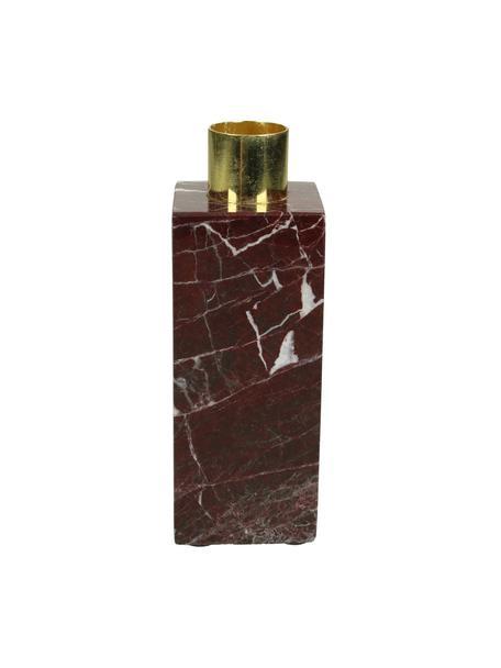 Portacandele in marmo Maria, Candelabro: alluminio rivestito, Rosso, Larg. 5 x Alt. 13 cm