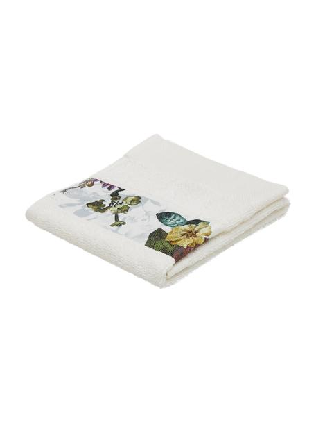 Handdoek Matiss in verschillende formaten, met hoog-laag patroon met bloemen, 97% katoen 3% polyester, Crèmewit, multicolour, Gastendoekje