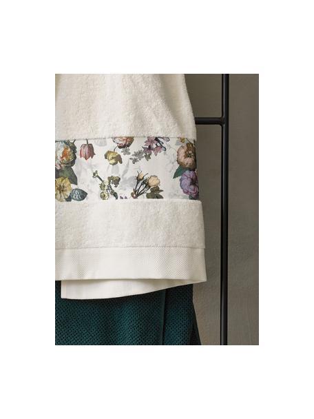 Ręcznik Fleur, różne rozmiary, 97% bawełna, 3% poliester, Kremowobiały, wielobarwny, Ręcznik dla gości