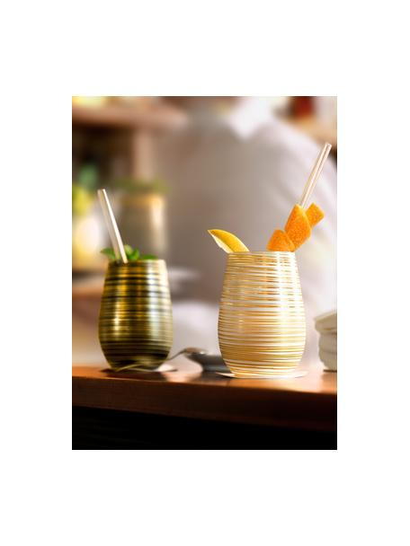 Kristall-Cocktailgläser Twister in Gold/Weiss, 6 Stück, Kristallglas, beschichtet, Weiss, Goldfarben, Ø 9 x H 12 cm