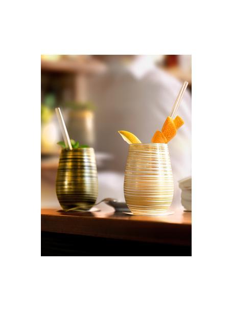 Vasos cóctel de cristal Twister, 6uds., Cristal recubierto, Blanco, dorado, Ø 9 x Al 12 cm