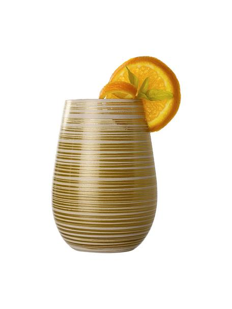 Szklanka do koktajli ze szkła kryształowego Twister, 6 szt., Szkło kryształowe, powlekane, Biały, odcienie złotego, Ø 9 x W 12 cm