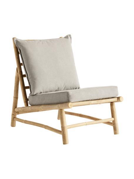Bamboe loungefauteuil Bamslow met bekleding, Frame: bamboe, Bekleding: 100% katoen, Grijs, bruin, 55 x 87 cm