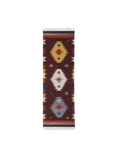 Alfombra artesanal de lana Kilim, 100%lana Las alfombras de lana se pueden aflojar durante las primeras semanas de uso, la pelusa se reduce con el uso diario, Rojo oscuro, An 80 x L 250 cm