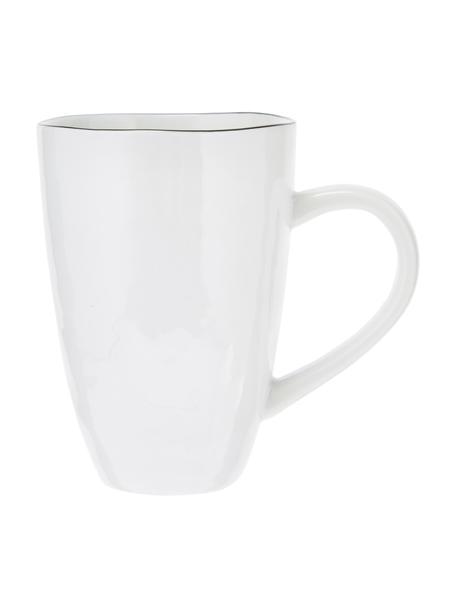 Handgemachte Tassen Salt mit schwarzem Rand, 6 Stück, Porzellan, Gebrochenes Weiss, Schwarz, Ø 8 x H 12 cm