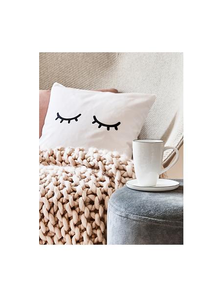 Tazas de café artesanales Salt, 6uds., Porcelana, Blanco crudo, negro, Ø 8 x Al 12 cm