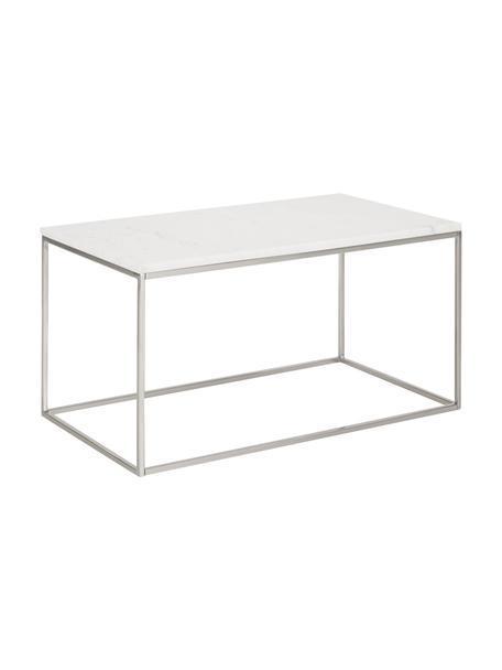 Marmor-Couchtisch Alys, Tischplatte: Marmor, Gestell: Metall, pulverbeschichtet, Tischplatte: weißer MarmorGestell: Silber, glänzend, 80 x 40 cm