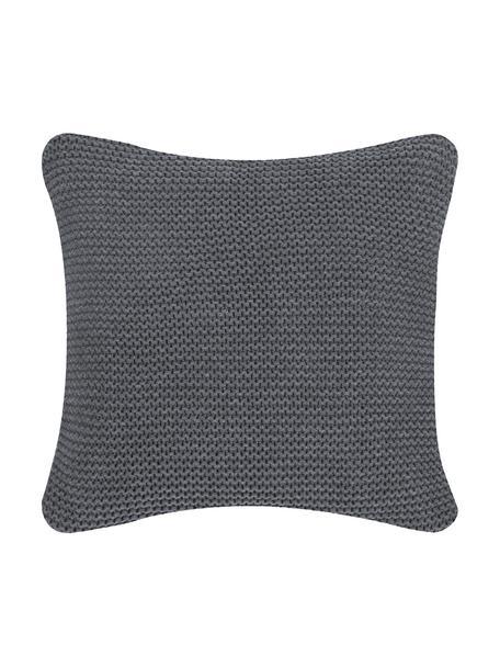 Strick-Kissenhülle Adalyn in Dunkelgrau, 100% Baumwolle, GOTS-Zertifiziert, Dunkelgrau, 50 x 50 cm