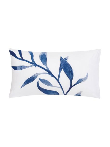 Dwustronna poszewka na poduszkę z perkalu Francine, 2 szt., Przód: niebieski, biały Tył: biały, S 40 x D 80 cm