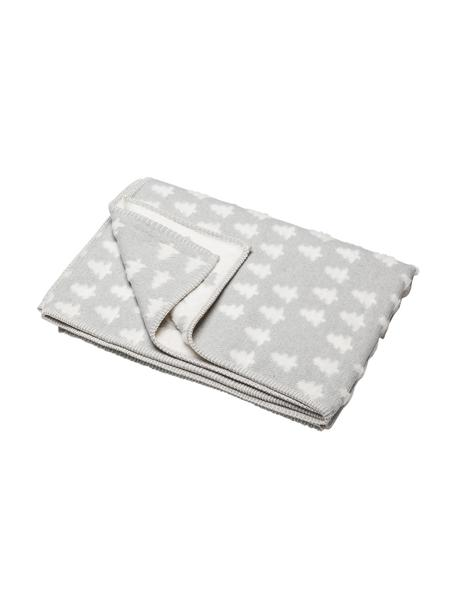 Koc z bawełny Tannen, 85% bawełna, 15% poliakryl, Szary, biały, S 130 x D 200 cm