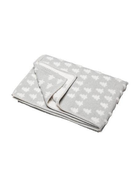 Manta de algodón Tannen, 85%algodón, 15%poliacrílico, Gris, blanco, An 130 x L 200 cm