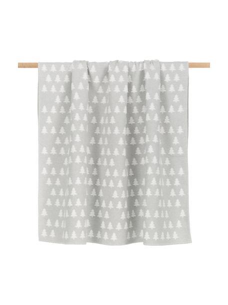 Coperta in cotone con motivo abeti e cuciture decorative Deco, 85% cotone, 15% poliacrilico, Grigio, bianco, Larg. 130 x Lung. 200 cm