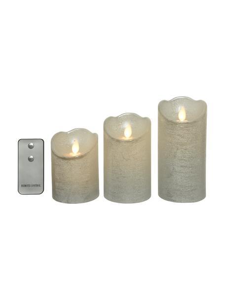 Set de velas LED Beno, 3uds, a pilas, Cera, Plateado, Set de diferentes tamaños
