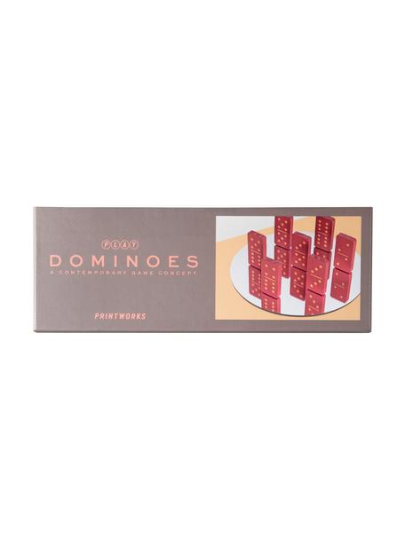 Domino-set Play, 30-delig, Papier, hout, Greige, rood, 24 x 4 cm