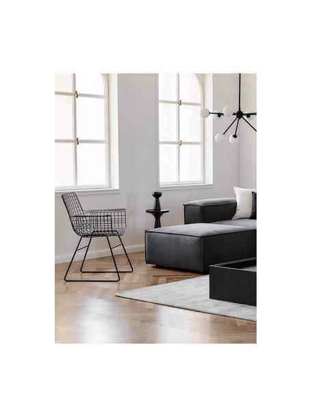 Sedia con braccioli in metallo Wire, Metallo verniciato a polvere, Nero, Larg. 72 x Prof. 56 cm