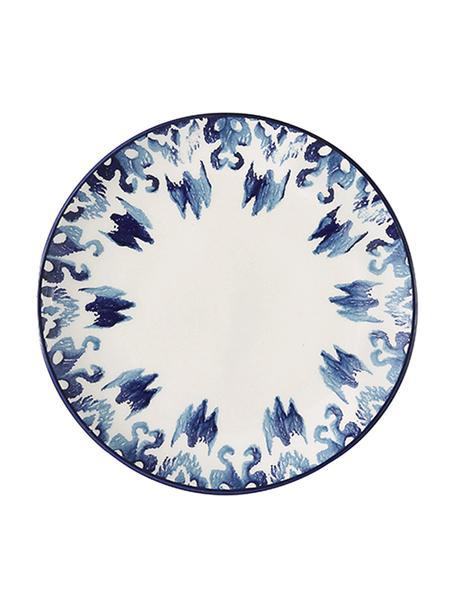 Handgemaakte ontbijtborden Ikat, 6 stuks, Keramiek, Wit, blauw, Ø 21 cm