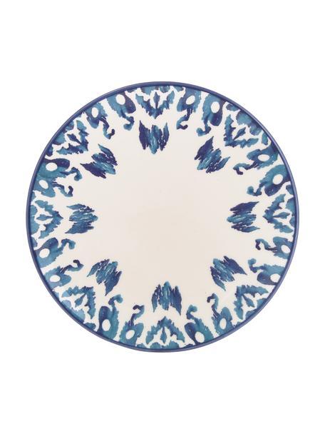 Ręcznie wykonany talerz śniadaniowy Ikat, 6 szt., Ceramika, Biały, niebieski, Ø 21 cm