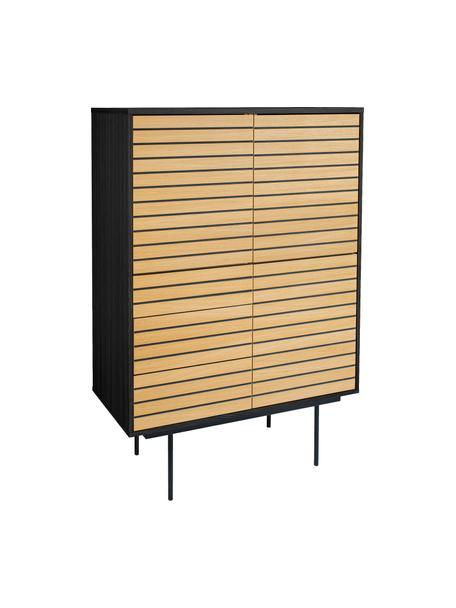Dressoir Stripe van eikenhout, Frame: MDF met eikenhoutfineer, Frame: metaal, Eikenhoutkleurig, zwart, 101 x 140 cm