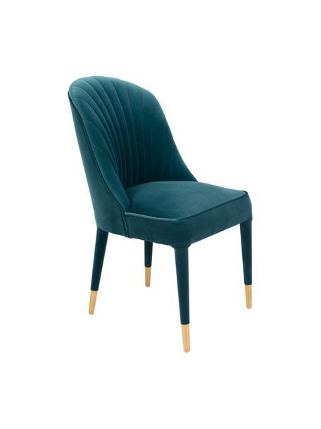 Blauer Samt-Stuhl Give Me More, Bezug: 100% Polyestersamt Der ho, Gestell: Schichtholz, Beine: Gummibaumholz, Füße: Stahl, pulverbeschichtet, Blau, Messingfarben, B 51 x T 61 cm
