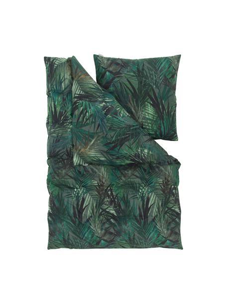 Baumwoll-Bettwäsche Solitude mit tropischem Print, Grün- und Blautöne, 135 x 200 cm + 1 Kissen 80 x 80 cm