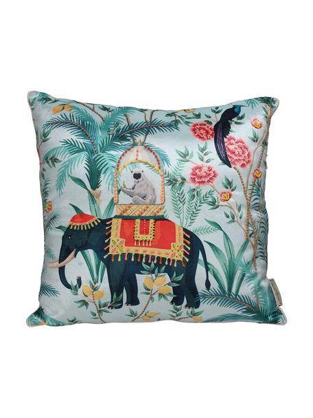 Samt-Kissen Elephant, mit Inlett, Bezug: 100% Baumwollsamt, Türkis, Mehrfarbig, 45 x 45 cm