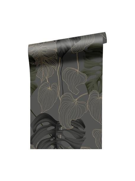 Tapete Paradiso, Vlies, Grau, Schwarz, Grün, Braun, 52 x 1005 cm