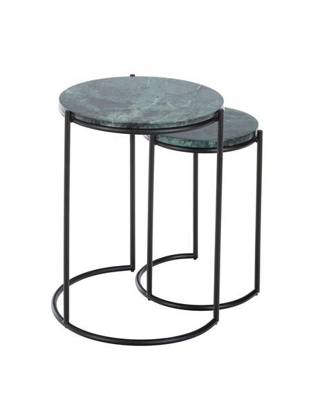 Komplet stolików pomocniczych z marmuru Ella, 2 elem., Blaty: zielony marmur Stelaże: czarny, matowy, Komplet z różnymi rozmiarami