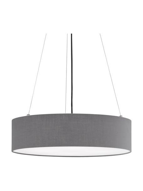 Lampada a sospensione color grigio scuroPina, Paralume: tessuto (Chintz), Baldacchino: metallo, Grigio, Ø 50 x Alt. 13 cm