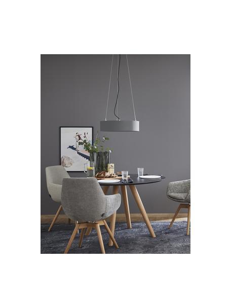 Klassieke hanglamp Pina in donkergrijs, Lampenkap: stof (sits), Diffuser: kunststof, Baldakijn: metaal, Grijs, Ø 50 x H 13 cm